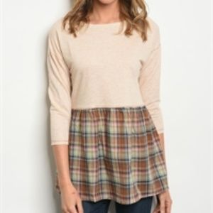 Plaid contrast 3/4 sleeve baby doll top